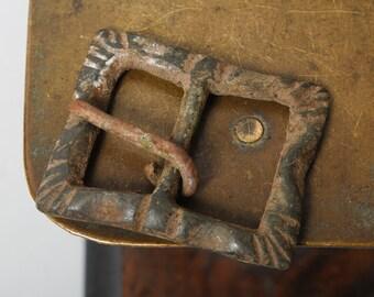 Antique brass  belt buckle, original black patina
