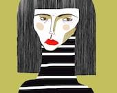 Stripes. fashion illustration, art print, wall decor, home decor, illustration poster, illustration.