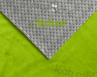 Baby Blanket - Lime Green MINKY Smooth, Gray MINKY Dot - Reed - BB1