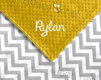 Baby Blanket - Gray Chevron MINKY, Corn Yellow MINKY Dot - Reese - BB1