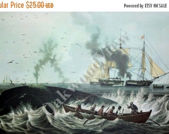 ON SALE South Sea Whale Fishery by Edward Duncan, Vintage 12x15 Art Print c1960s, Whaling, Oceanscape, Sailing Ships, FREE Shipping