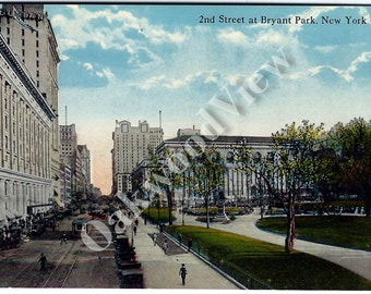 New York City Bryant Park 42nd Street Postcard c1910, Manhattan NYC, Cars Streetcars, Antique Color Ephemera c1910, FREE SHIPPING