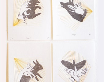 Letterpress hand shadow puppet print stitching, textile art, hand stitched, mixed media wall art, very limited edition SET