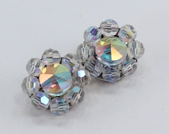 Vintage Aurora Borealis Clear Cut Glass Crystal Wedding Bridal Iridescent Rivoli Beaded Cluster Clip On Earrings