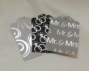 Black and Silver Wedding Gift Tag Set of 6