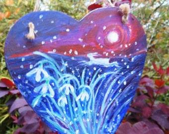 Spring SALE -Moonlit Snowdrop  Hare - original art - hand painted ,  heart hanger, Home decor