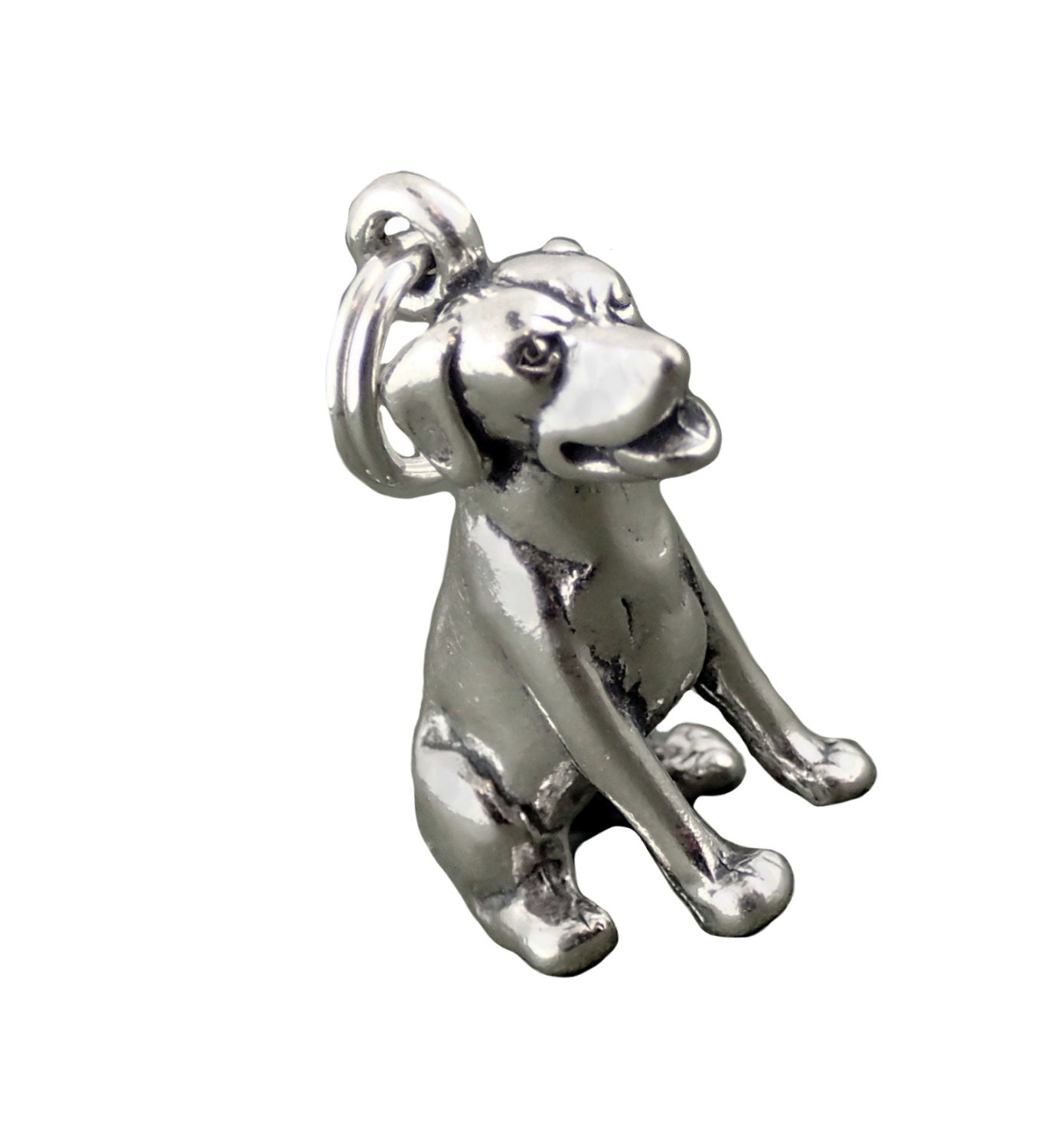 sterling silver labrador retriever charm sitting lab 3d
