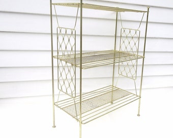 Mid Century 3 Tier Stand, Brass Shelving, Metal Wire Storage Rack, Side Table, Bathroom Storage Stand - As Is