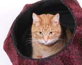 Cat Ball a Modern Hexagonal Pet Bed in Raspberry Red Leopard Fur