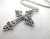 Cross Necklace, Gothic Cross, Religious Necklace, Crucifix, Christian, Goth, Religion, Catholic, Christian