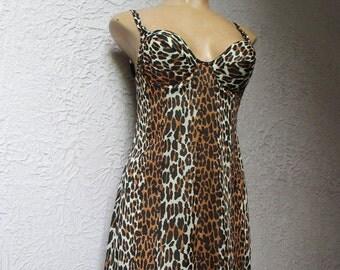 60s Vintage Vanity Fair Leopard Print Bra Slip 34 B