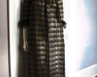 60's Vintage Black Illusion Lace Negligee Gown sm/med