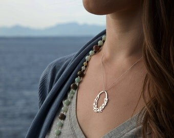 Ring of Leaves Necklace in Sterling Silver