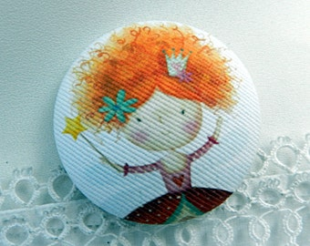 Fabric button, princess, 0.86 in / 22 mm