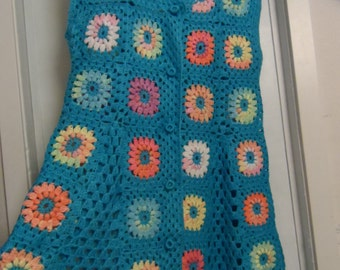 SALE! Crochet granny square turquoise blue multicolour puff stitch flowers hippie boho sleeveless jacket vest Plus size OOAK Ready to ship!