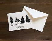 happy birthday: four funny ravens greeting card