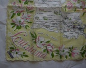 Louisiana State Hanky Vintage Souvenir Handkerchief  soft yellow pink green