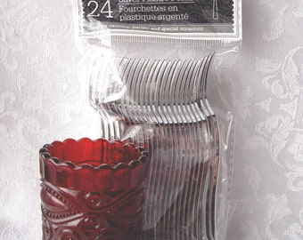 Vintage Ruby Red Glass  Toothpick ~ Mini Plastic Forks ~ Holder * Use for Cheese Fruits Appetizers Hors D'Oeuvres or Sushi Forks