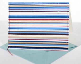 Fabric Fold-Over Card, Blank Notecard, Any Occassion Card, Graduation Thank You Card Handmade Card, Everyday Card, Set of 4 cards: Strip