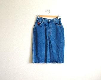 vintage 80s Candies Denim Blue Jean High Waisted Pencil slim Skirt -- womens small