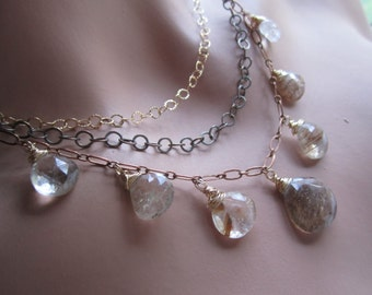 Gemstone Statement Necklace and Earrings, Rutilated Quartz Multistrand Mixed Metal Necklace