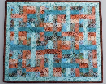 Cat Nap Quilt in Batik Fabrics with Aqua Fleece Backing 22.5 inches by 19 inches