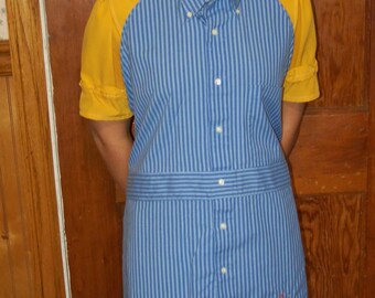 Plaid Shirt apron! - Upcycled shirt; Blue striped with embroidered butterfly; 1X