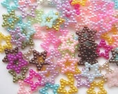 200 pcs of Resin Stars Pearlized Beads Cameo 10mm Multicolor