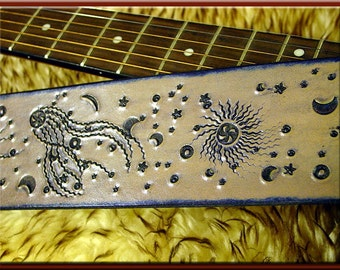 COSMIC WONDER Design Leather Guitar Strap • A Beautifully Hand Dyed, Hand Crafted Leather Guitar Strap