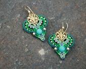 Romantic blue green gold earrings