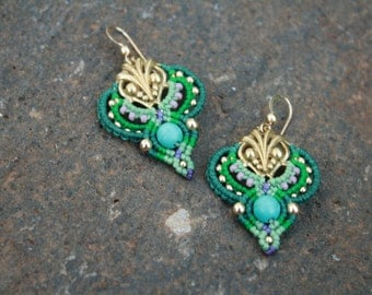 Romantic blue green gold earrings
