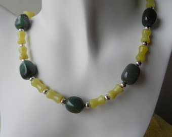 Green Necklace with Dark Green Aventurine Nuggets and Olive Jade Dog Bone Beads