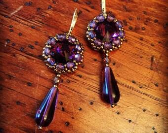 Vintage inspired purple crystal earrings, purple earrings, crystal earrings, purple crystal jewelry