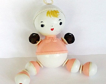 Vintage Baby Shower Decor, Baby Rattle, Nursery Decor, Pink And White Crib Toy