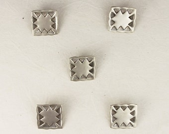 Sterling Silver Hand Stamped Square Button - Set of 5