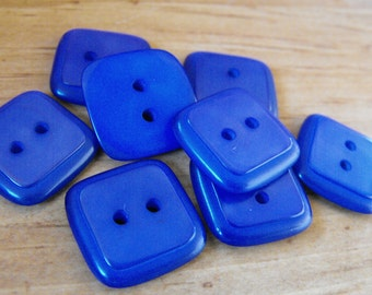 "8 Royal Blue Shiny Medium Square Buttons Size 3/4"""