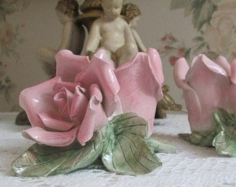 vintage capodimonte pink rose candle holders pair shabby chic cottage decor