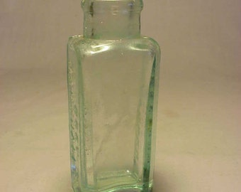 c1880s Doct. Marshall's Catarrh Snuff , Aqua Cork top Blown Glass Medicine Bottle No. 1