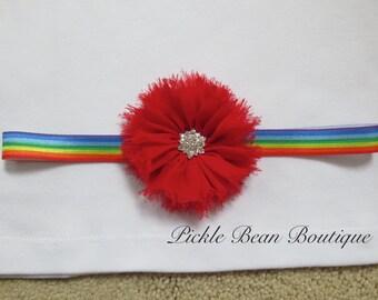 Rainbow Headband, Girls Red Chiffon Flower Headband Rhinestone Center Baby Toddler Headband Kids Hairband Birthday Photo Prop