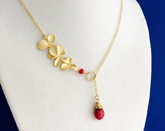 Handmade Red Ruby Gold Orchid Necklace, 14K Gold Filled Chain, Blood Red Rudy, July Birthstone