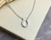 Silver horseshoe charm necklace, CZ horse shoe necklace, lucky charm, crystal pave, silver cubic zirconia jewelry, everyday CZ jewelry
