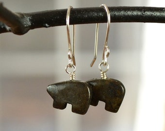 Brown Bear Earrings, Gemstone Bear Earrings, Bear Jewellery, Soocho Jade Earrings