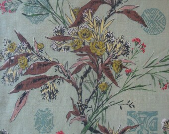 Vintage Chinoiserie Barkcloth Fabric, Large Floral & Asian Calligraphy, Mint Green, Brown