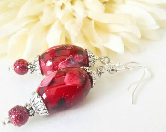Red Lampwork Earrings, Clip On Earrings, Daughter Gift for Her, Red Glass Drop Earrings, Sterling Silver, Dangle Earrings, Stocking Stuffers