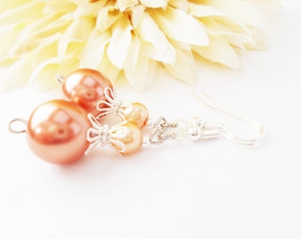 Peach Pearl Drop Earrings, Bridesmaids Earrings, Wedding Jewelry, Dangle, Clip On, Bridal Party Gift, Flower Girl Earrings, Pastel Earrings
