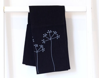 Black linen tea towel - Elderberries