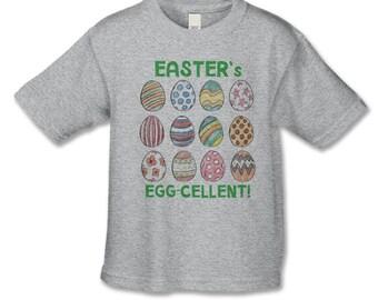 Easter Shirt - Easter is Egg-cellent!  Personalized Easter Shirt for Girls or Boys - Infant thru Adult Sizes - Hand Drawn Easter Egg Tshirt