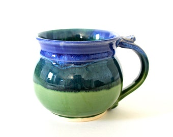Pottery Coffee Mug, Pottery Tea Cup, Green and Blue, Handmade Wheel Thrown Ceramics