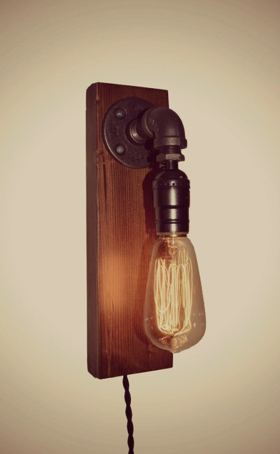Items similar to Edison Farmhouse Industrial Light Wall Sconce - Rustic - Pipe - Vintage Style ...
