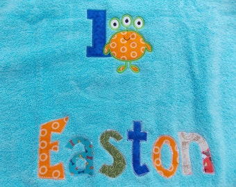 Personalized Towel-Mermaid applique name- custom towel-owl towel-great for beach, bath, Birthday Gifts, Daycare